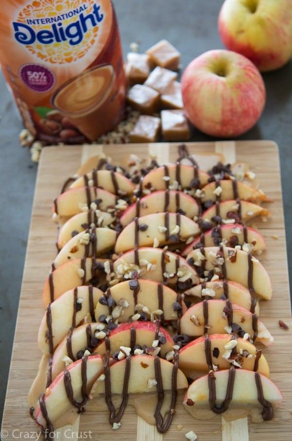 Hazelnut Caramel Apple Nachos - an easy snack or dessert perfect for fall.