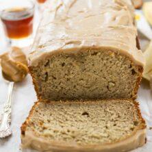 peanut butter banana bread sliced