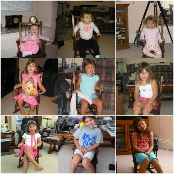 collage of Jordan in the rocking chair from ages 6months to 8 years old