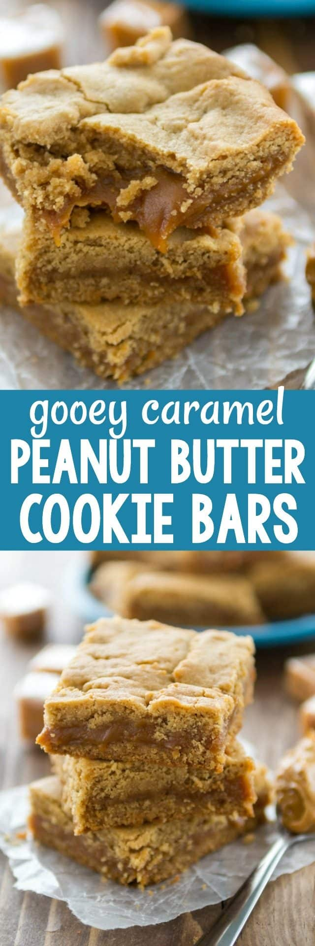 Gooey Caramel Peanut Butter Cookie Bars - a rich indulgent peanut butter cookie filled with gooey soft caramel! These are a dream bar cookie recipe.