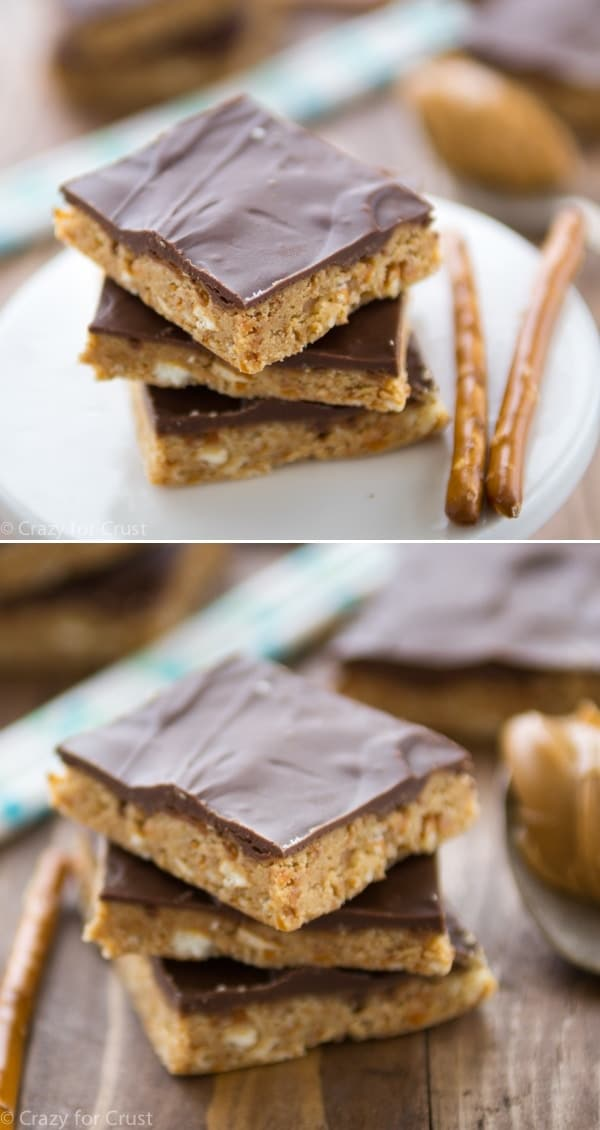 These No Bake Peanut Butter Pretzel Squares are so easy to make and they taste better than a peanut butter cup!