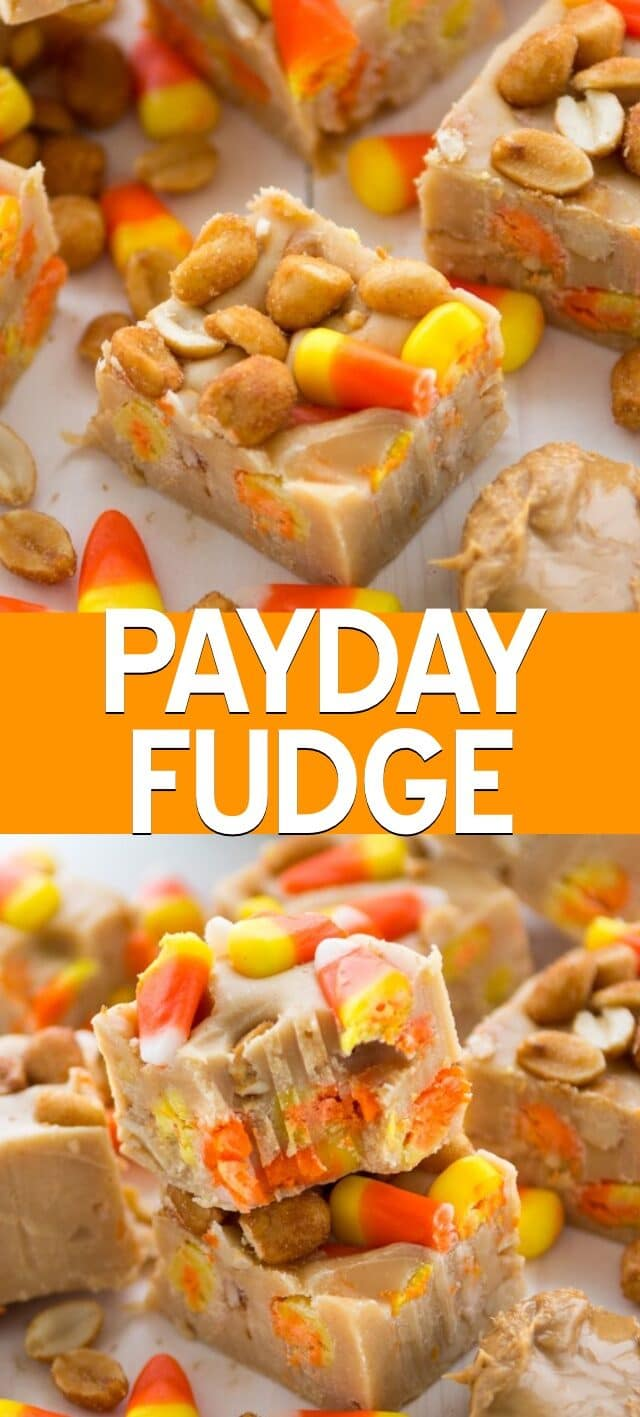 collage of payday fudge photos