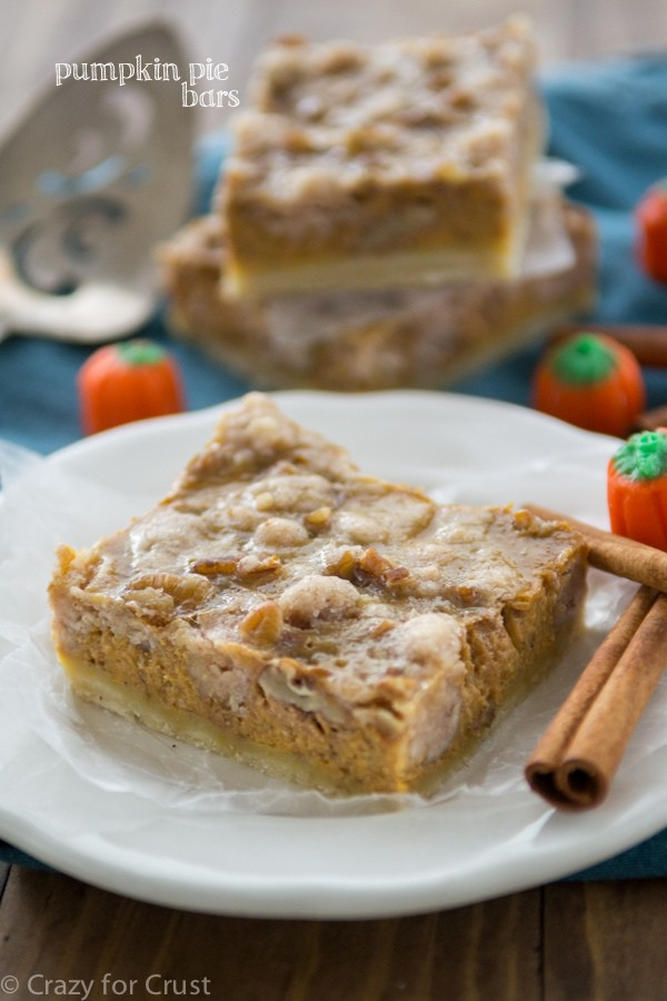 Pumpkin Pie Bars with pecan crumble