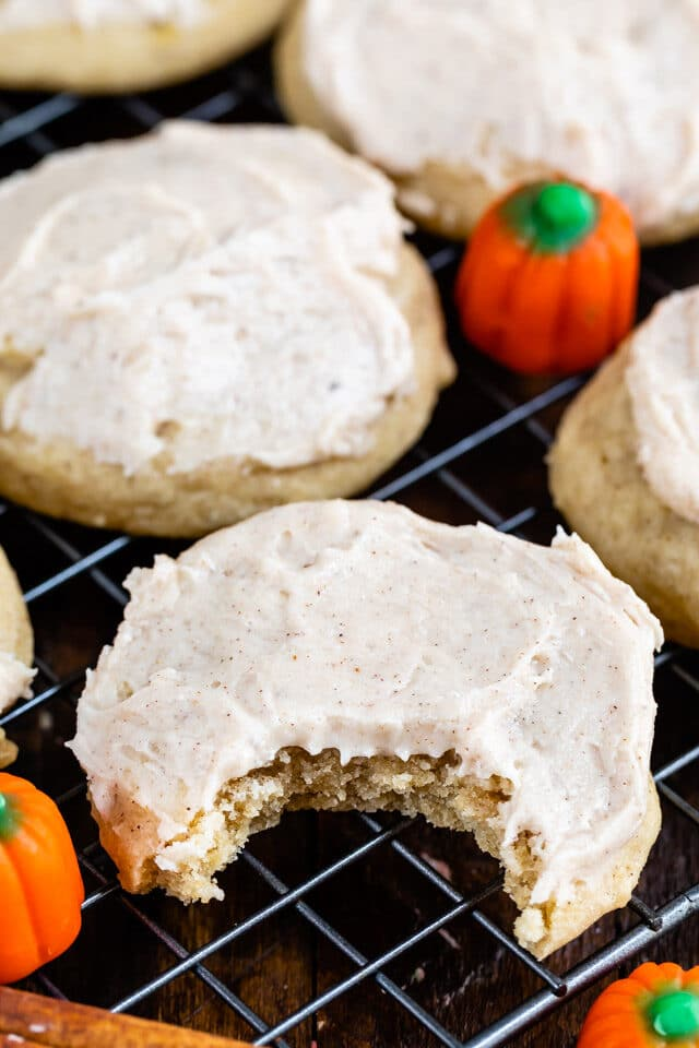 pumpkin spice sugar cookie with bite missing