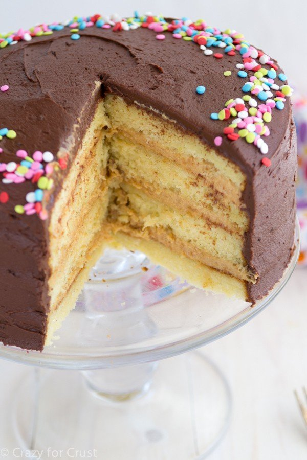 This is the Perfect Yellow Layer Cake with Chocolate Frosting and peanut butter filling!