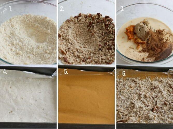 6 photos showing how to make pumpkin bars
