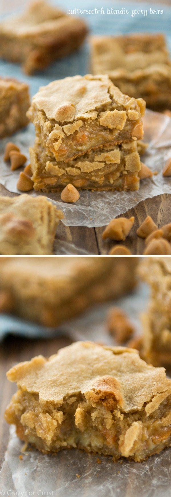 Butterscotch Blondie Gooey Bars - like a blondie but in gooey bar form, with butterscotch chips! collage photo