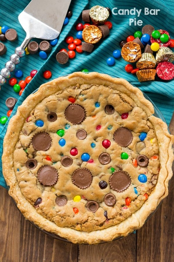 My favorite Candy Bar Pie is a blondie filled with candy and a crust!