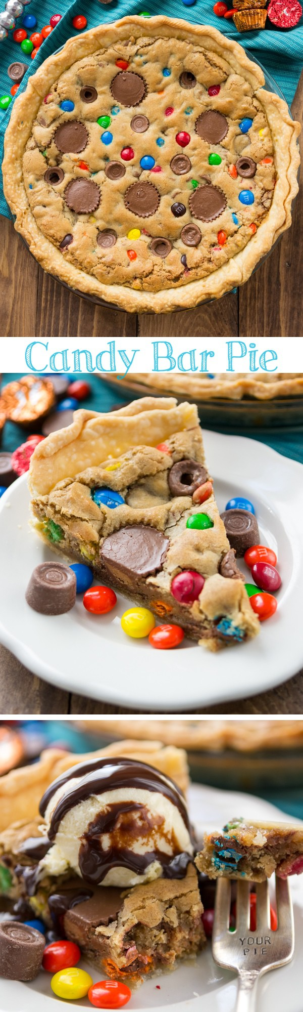 Candy Bar Pie - you must make this blondie pie! It's filled with peanut butter cups, Rolos, and M&Ms! Collage photo
