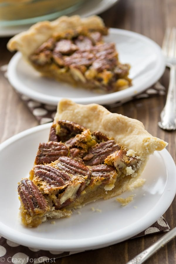 A slice of classic pecan pie is a perfect way to end your holiday meal.