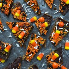 overhead shot of toffee bark with halloween sprinkles