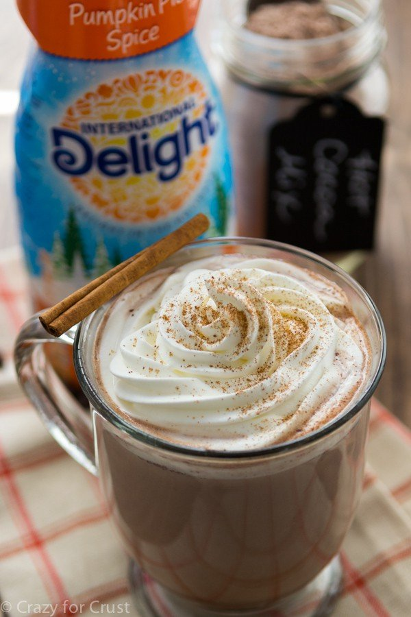 Make a Pumpkin Spice Hot Chocolate using Homemade Hot Chocolate Mix and International Delight Coffee Creamer!