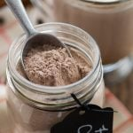 hot chocolate mix in jar with scoop