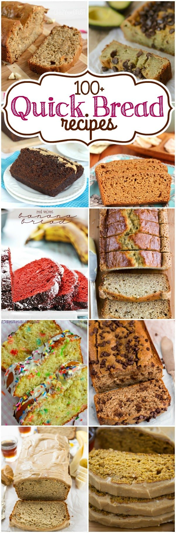 Over 100 Quick Bread Recipes from your favorite bloggers. Find banana, pumpkin, chocolate, lemon and so many more quick bread recipes!