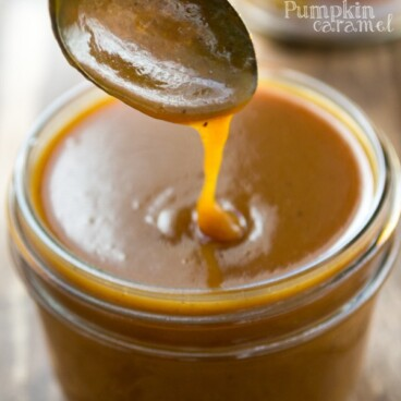 jar of caramel and spoon lifting some up
