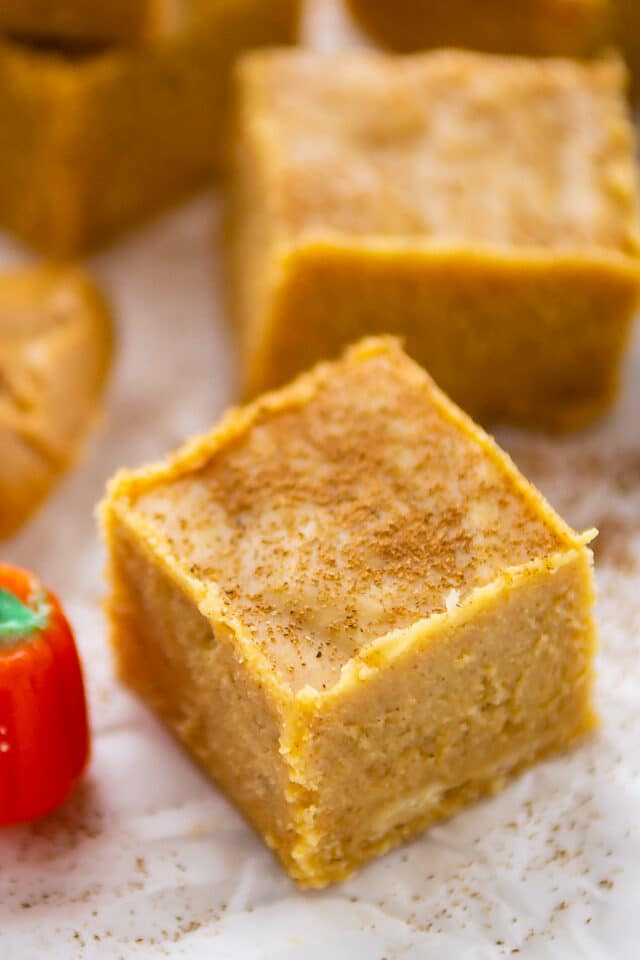 square of peanut butter pumpkin fudge