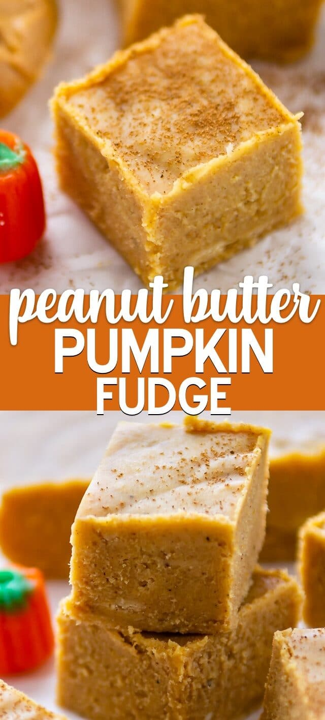 peanut butter pumpkin fudge collage