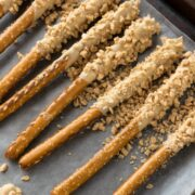 Biscoff Toffee Pretzel Rods are an attractive addition to your holiday treat stash.