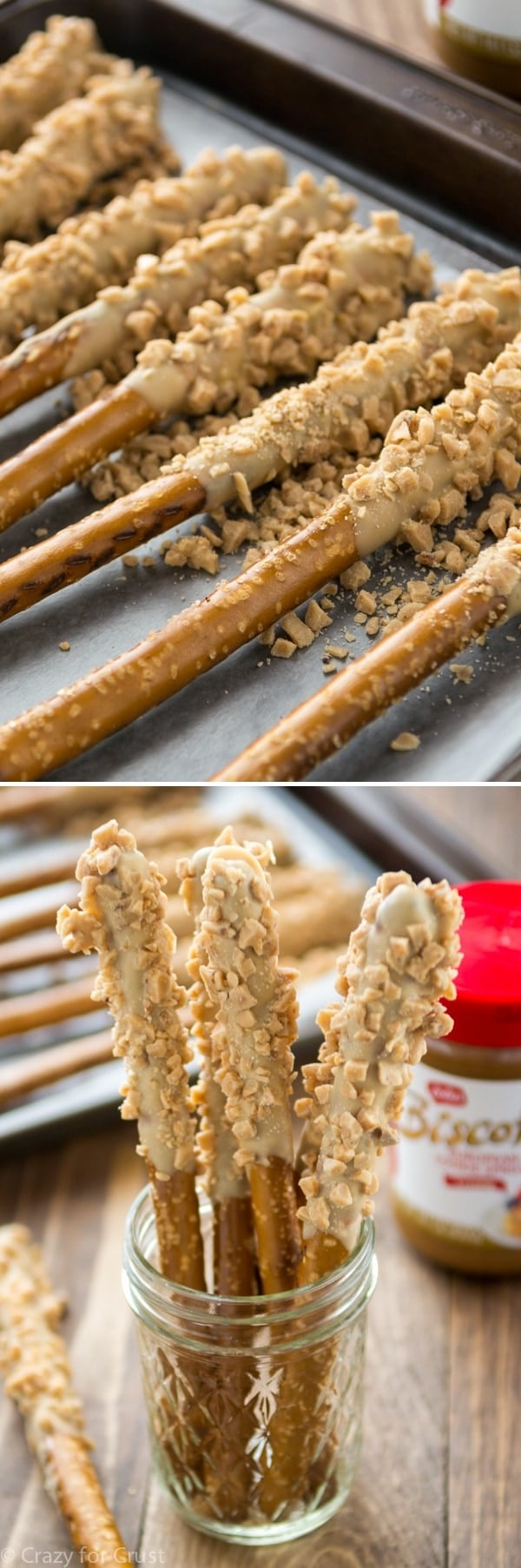 Biscoff Toffee Dipped Pretzel Rods - 10 minutes between you and the best snack ever. Plus they make a great gift!