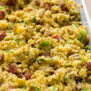 cornbread stuffing with andouille sausage is a Thanksgiving side dish that will please everyone!