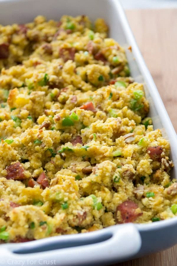 Cornbread Stuffing with Andouille Sausage in a white dish
