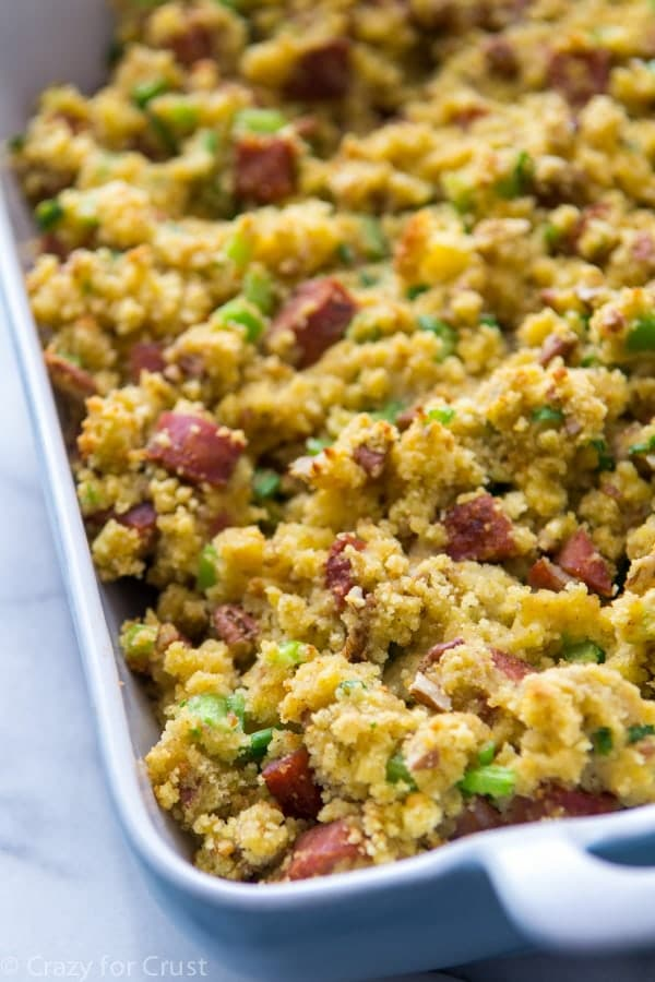 Cornbread Stuffing with andouille sausage and pecans