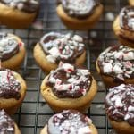 Peppermint Tarts are filled with chocolate, peppermint ganache.