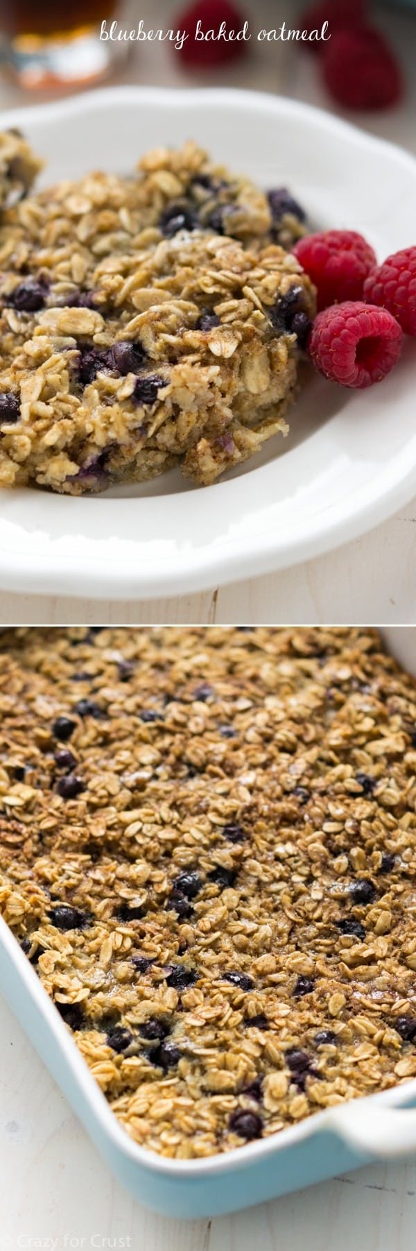 Blueberry Baked Oatmeal is a healthier, easy breakfast. Great for a crowd or to freeze for quick breakfasts!