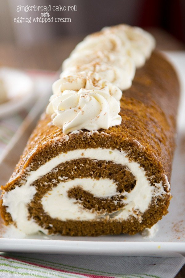 Gingerbread Cake Roll With Eggnog Whipped Cream Crazy