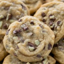 Mint Chip Chocolate Chip Cookies are soft with a yummy blend of chocolate and mint!