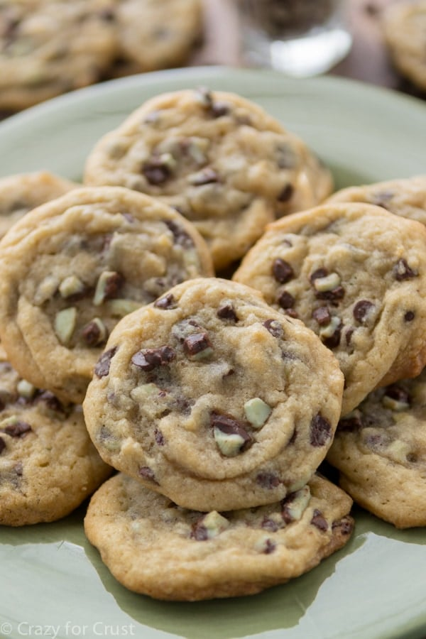 Mint Chip Chocolate Chip Cookies are the perfect chocolate chip cookies filled with mint chips!