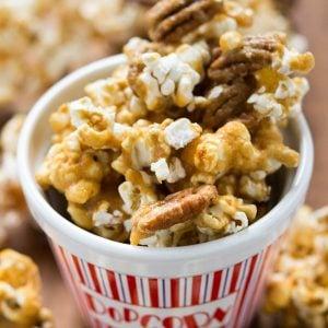 Pecan Praline Popcorn is popcorn smothered in an easy to make pecan praline.