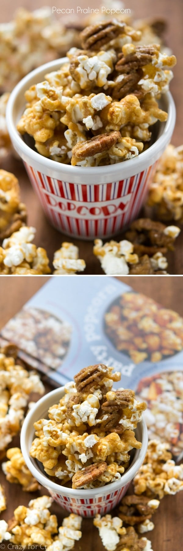 Pecan Praline Popcorn - the best mix of pecan praline and popcorn! It's an easy recipe and so addictive!