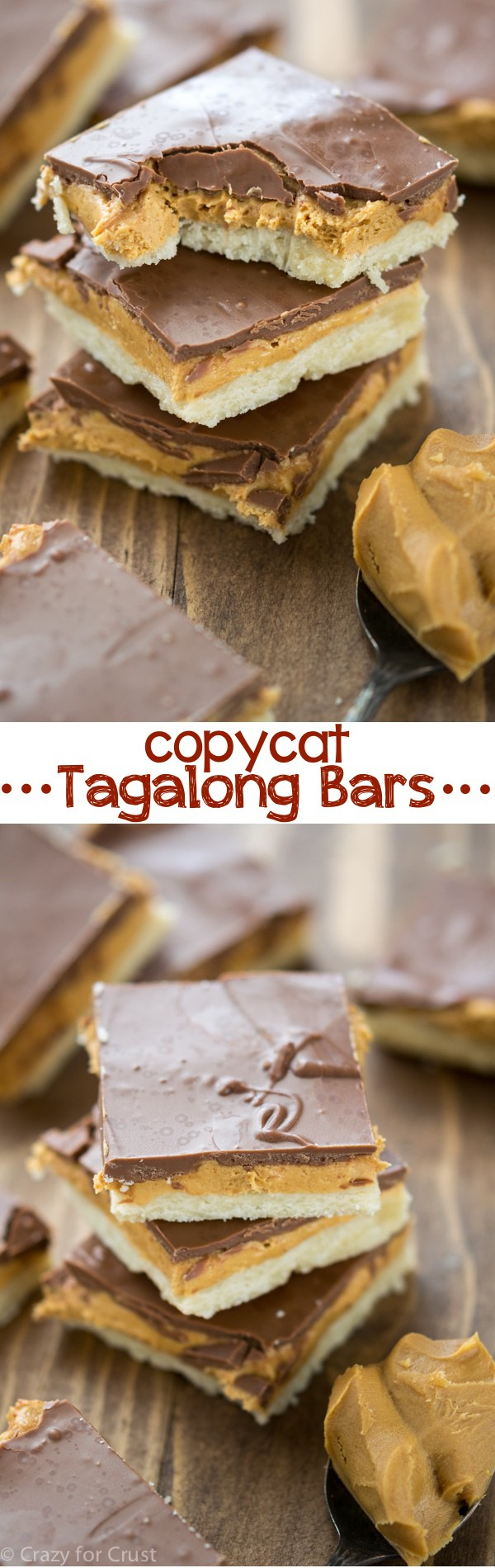 Homemade Tagalong Bars - a copycat of the girl scout cookie! Shortbread, peanut butter, and chocolate in bar cookie form!