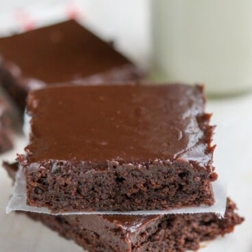 Easy Double Fudge Brownies in a stack