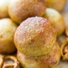 pretzel buns stacked