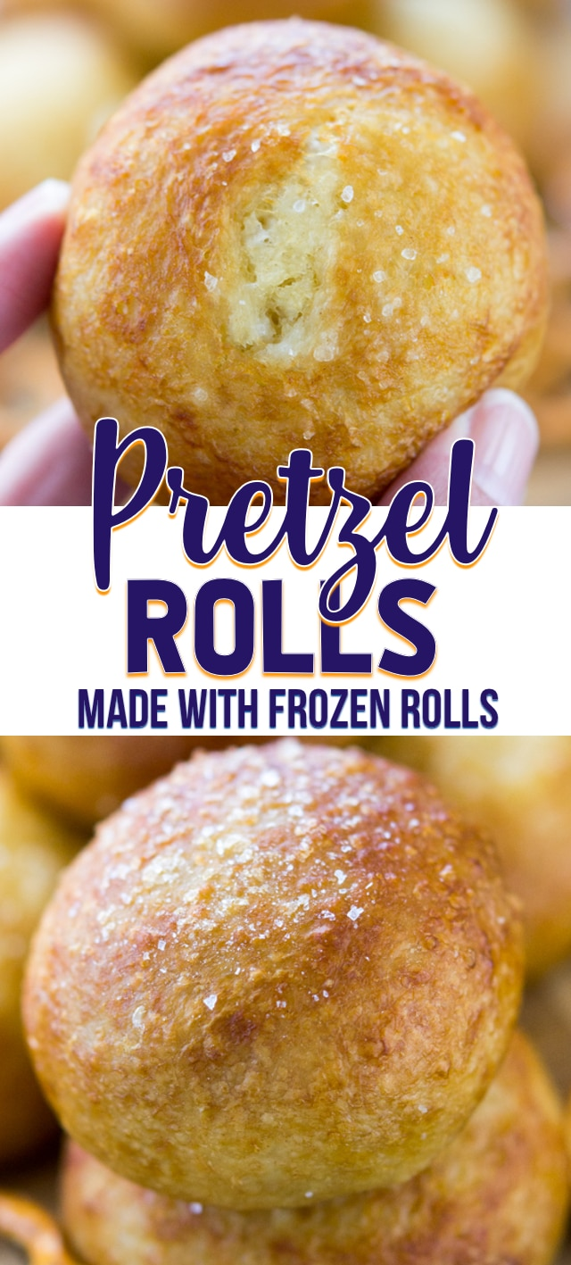 stack of pretzel rolls collage
