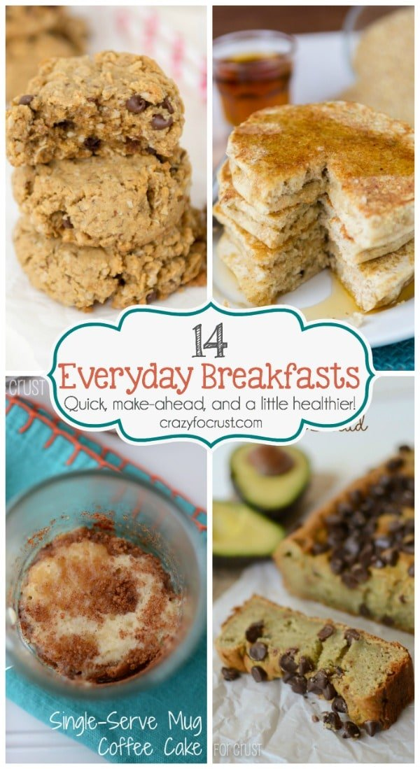 14 of my favorite Everyday Breakfasts. Each can be made ahead and frozen for quick mornings, and they're a little healthier than the original versions!