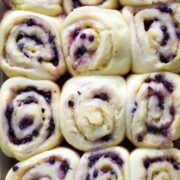 Lemon Blueberry Sweet Rolls in a baking dish