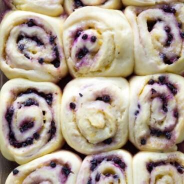 Lemon Blueberry Sweet Rolls in a baking dish