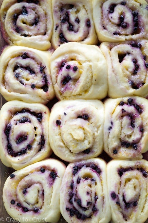 Lemon Blueberry Sweet Rolls have lemon in the yeast dough, the filling ...