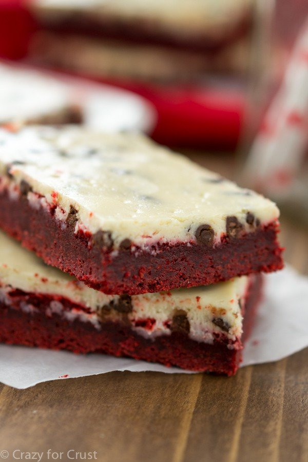 Red Velvet Chocolate Chip Cheesecake Bars Crazy For Crust