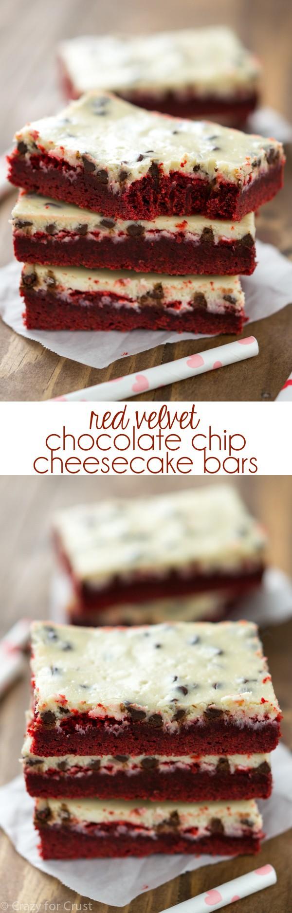 Red Velvet Chocolate Chip Cheesecake Bars