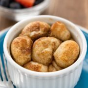 Single Serve Monkey Bread in a white custard cup