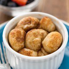 Single Serve Monkey Bread in a white custard cup