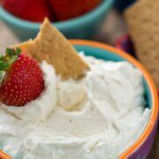 cheesecake dip in bowl