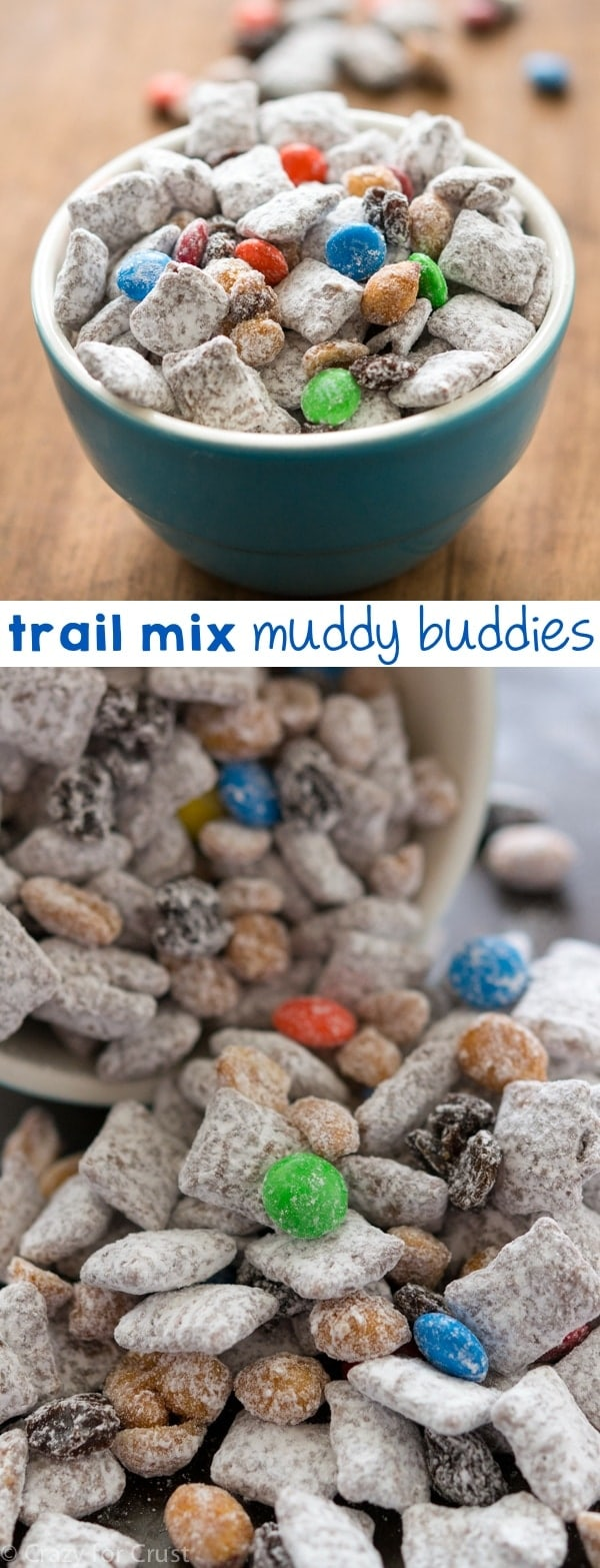 Trail Mix Muddy Buddies combines two favorite snacks: muddy buddies and trail mix!
