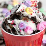 Valentine Oreo Bark in a Red bowl