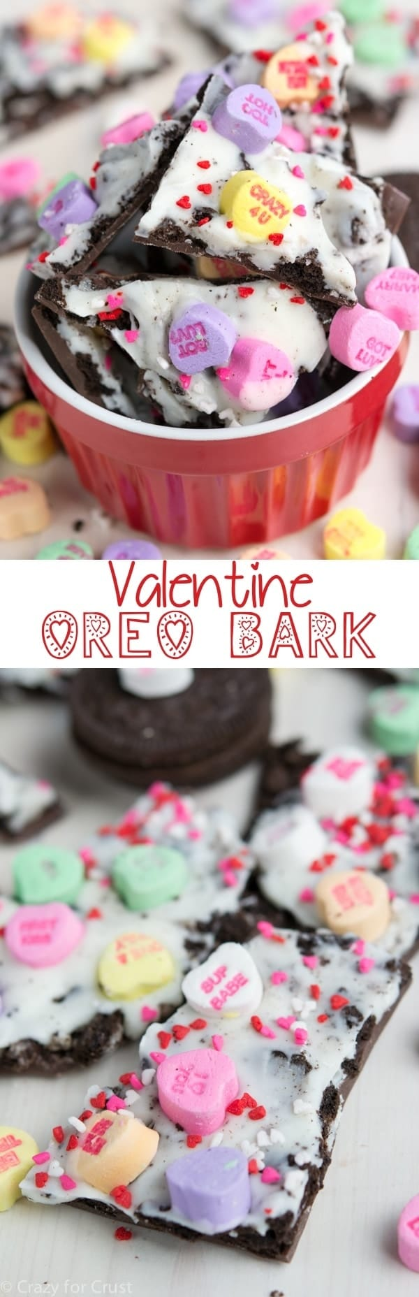 Valentine Oreo Bark is the perfect treat to give on Valentine's Day! Layers of white and milk chocolate sandwich Oreo cookies and conversation hearts.