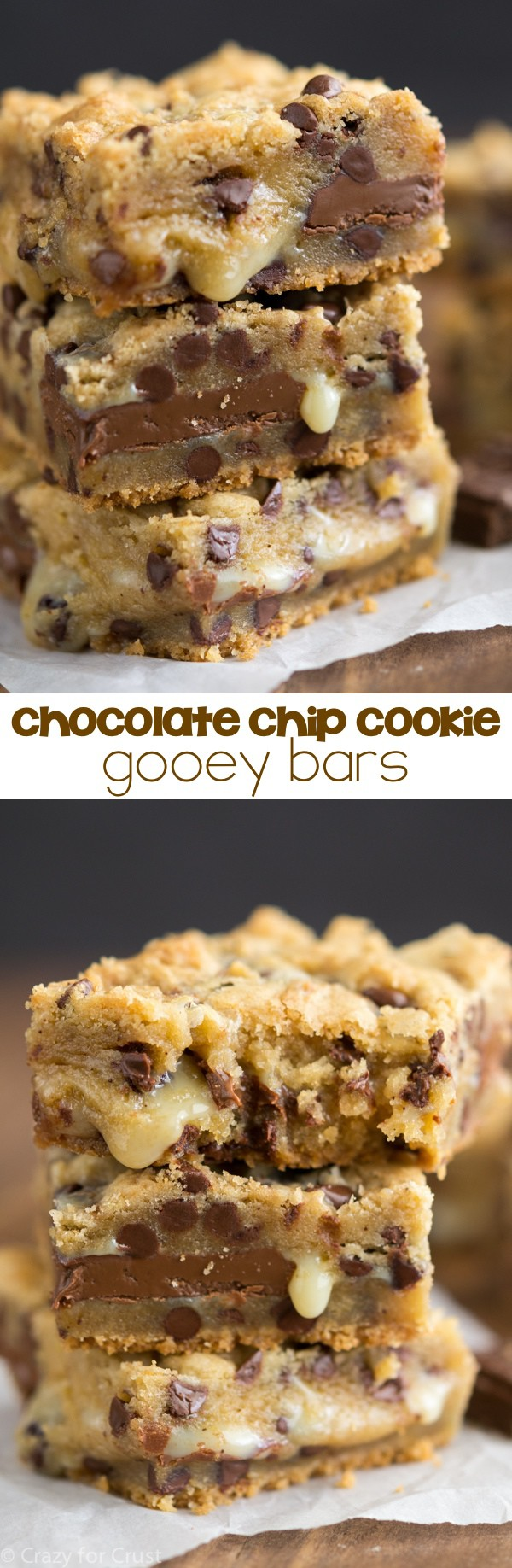 collage of chocolate chip cookie bars